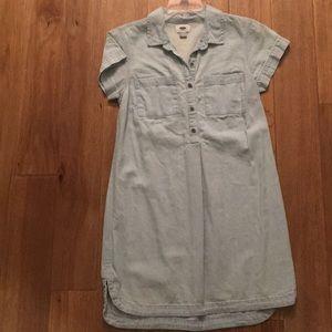 Acid washed chambray dress